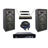 PylePro (KTDA152) 2400 Watt Complete DJ Stage Speaker System - Dual 15'' Eight-Way Amp/MIC's/Cables