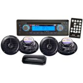 Pyle PLMRKIT106 AM/FM In-Dash Marine CD Player W/CD/CDR/CDRW/MP3 & Splash Proof Radio Cover