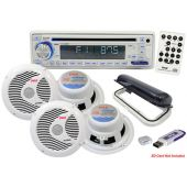 Pyle (PLMRKIT108) Complete Marine Water Proof 4 Speaker CD/USB/Mp3/Combo w/Stereo Cover, 6.5'' Speakers And USB Drive (White)