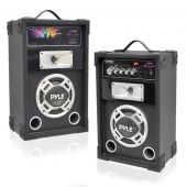Pyle (PSUFM625) Dual 600 Watt Disco Jam Powered Two-Way PA Speaker System w/ USB/SD Readers, FM Radio