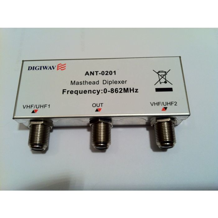 TV antenna Combiner ANT 0201 UHF/VHF 2 in 1 out Diplexer for TV Antenna  (0 - 862 MHZ) ANT0201