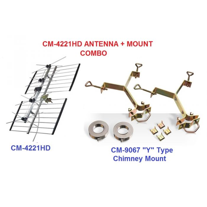 Channel Master CM 4221HD and Chimney Y mount CM 9067 combo package