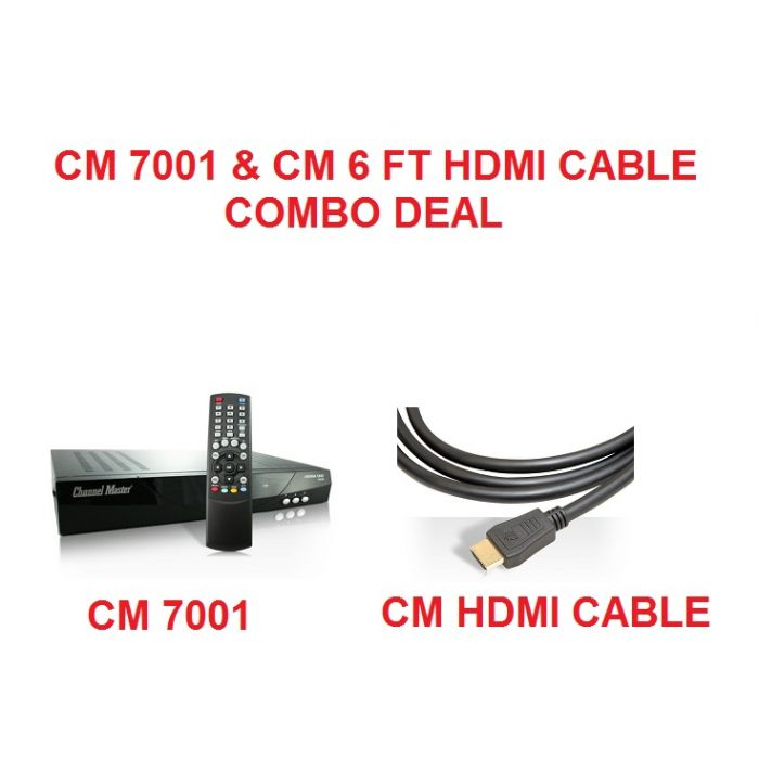 COMBO DEAL Channel Master CM 7001 Antenna and Cable Tuner, Digital to Analog Converter Box  CM7001 & HDMI Cable