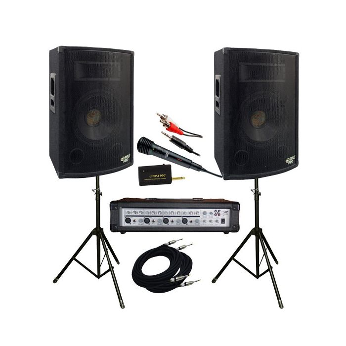 PylePro (KTDM1279) 1200 Watt Complete DJ Speaker System - 12'' Two-Way Powered Mixer/Stands/MIC/Cables