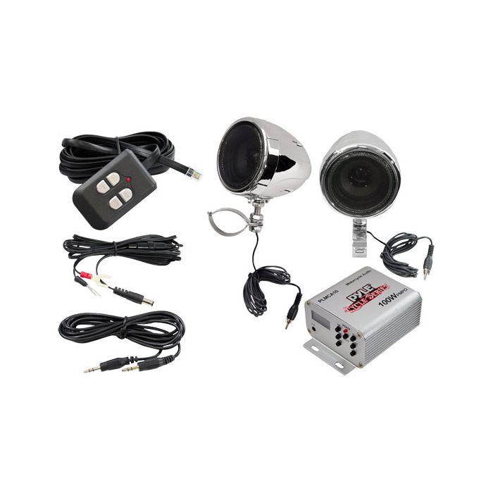 Pyle  PLMCA10  100 Watts Motorcycle/ATV/Snowmobile Mount MP3/Ipod Amplifier with Dual handle-bar Mount Weatherproof speakers W/FM Radio