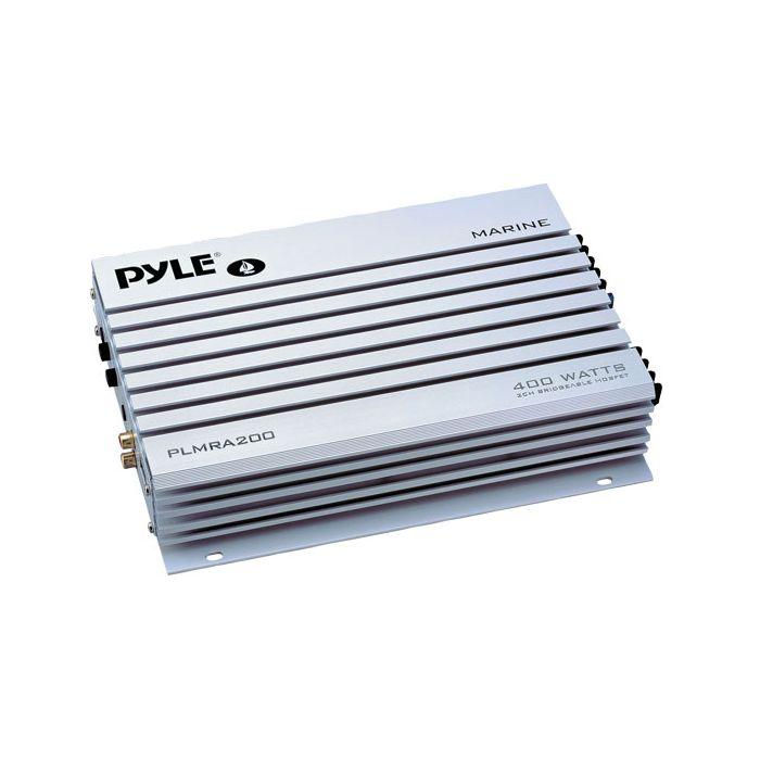 Pyle  PLMRA200  2 Channel 400 Watt Bridgeable Waterproof Marine Amplifier
