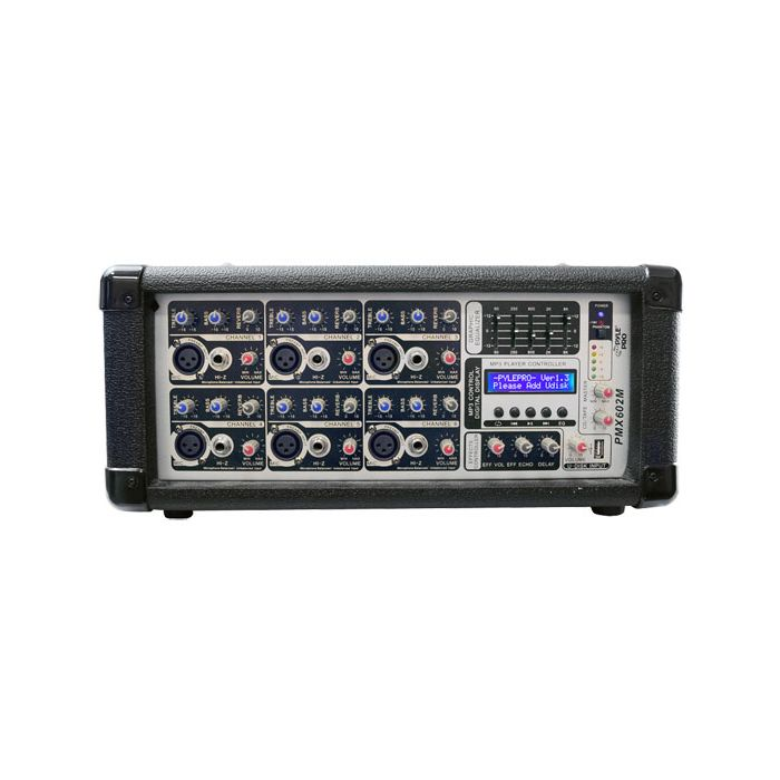PylePro (PMX602M) 6 Channel 600 Watts Powered Mixer w/ MP3