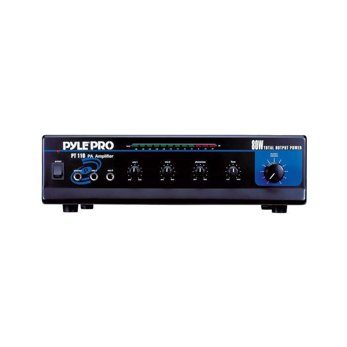 PyleHome  PT110 80 WATT AC/DC Microphone PA Mono Amplifier w/ 70V Output & Mic Talkover